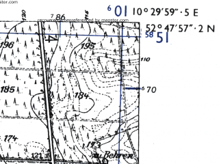 Reduced fragment of topographic map de--mb--025k--32_028-ams--(1955)--N052-48_E010-20--N052-42_E010-30
