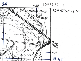 Reduced fragment of topographic map de--mb--025k--32_031-ams--(1955)--N052-48_E010-50--N052-42_E011-00