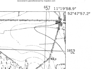 Reduced fragment of topographic map de--mb--025k--32_033-ams--(1952)--N052-48_E011-10--N052-42_E011-20
