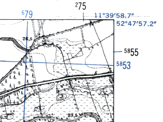 Reduced fragment of topographic map de--mb--025k--32_035-ams--(1952)--N052-48_E011-30--N052-42_E011-40
