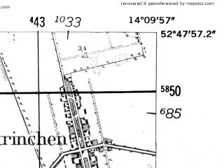 Reduced fragment of topographic map de--mb--025k--32_050-ams--(1952)--N052-48_E014-00--N052-42_E014-10; towns and cities Wriezen, Bad Freienwalde