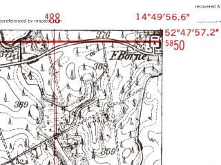Reduced fragment of topographic map de--mb--025k--32_054-ams--(1952)--N052-48_E014-40--N052-42_E014-50