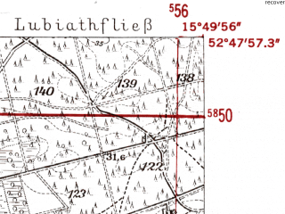 Reduced fragment of topographic map de--mb--025k--32_060-ams--(1952)--N052-48_E015-40--N052-42_E015-50