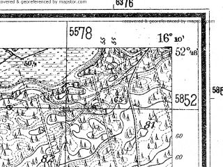 Reduced fragment of topographic map de--mb--025k--32_062--(1944)--N052-48_E016-00--N052-42_E016-10