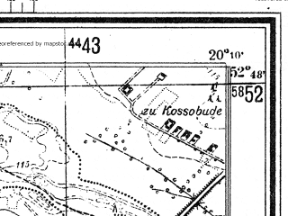 Reduced fragment of topographic map de--mb--025k--32_086--(1944)--N052-48_E020-00--N052-42_E020-10; towns and cities Raciaz