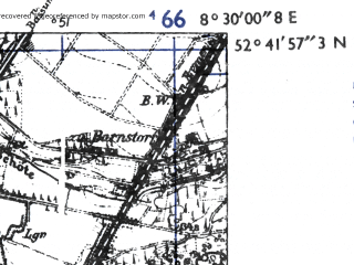 Reduced fragment of topographic map de--mb--025k--33_016-ams--(1955)--N052-42_E008-20--N052-36_E008-30; towns and cities Diepholz