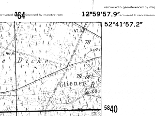 Reduced fragment of topographic map de--mb--025k--33_043-ams--(1952)--N052-42_E012-50--N052-36_E013-00