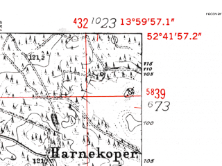 Reduced fragment of topographic map de--mb--025k--33_049-ams--(1952)--N052-42_E013-50--N052-36_E014-00
