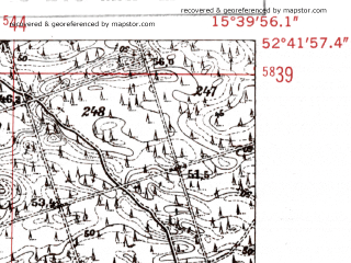 Reduced fragment of topographic map de--mb--025k--33_059-ams--(1952)--N052-42_E015-30--N052-36_E015-40