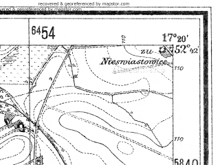 Reduced fragment of topographic map de--mb--025k--33_069--(1940)--N052-42_E017-10--N052-36_E017-20