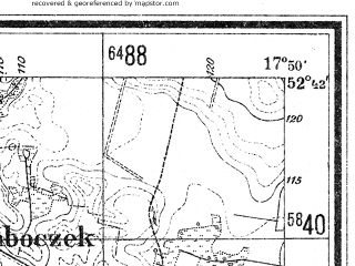 Reduced fragment of topographic map de--mb--025k--33_072--(1940)--N052-42_E017-40--N052-36_E017-50