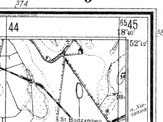Reduced fragment of topographic map de--mb--025k--33_077--(1940)--N052-42_E018-30--N052-36_E018-40; towns and cities Radziejow