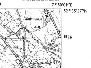 Reduced fragment of topographic map de--mb--025k--34_012-ams--(1955)--N052-36_E007-40--N052-30_E007-50; towns and cities Furstenau