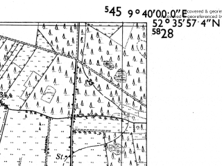 Reduced fragment of topographic map de--mb--025k--34_023-ams--(1955)--N052-36_E009-30--N052-30_E009-40