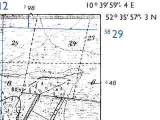 Reduced fragment of topographic map de--mb--025k--34_029-ams--(1955)--N052-36_E010-30--N052-30_E010-40