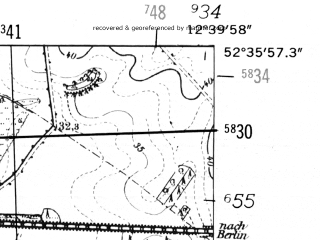 Reduced fragment of topographic map de--mb--025k--34_041-ams--(1952)--N052-36_E012-30--N052-30_E012-40