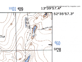 Reduced fragment of topographic map de--mb--025k--34_047-ams--(1952)--N052-36_E013-30--N052-30_E013-40