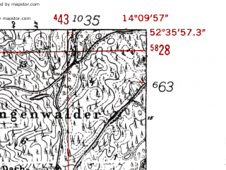Reduced fragment of topographic map de--mb--025k--34_050-ams--(1952)--N052-36_E014-00--N052-30_E014-10