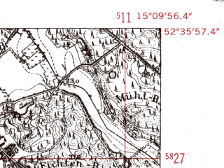 Reduced fragment of topographic map de--mb--025k--34_056-ams--(1952)--N052-36_E015-00--N052-30_E015-10