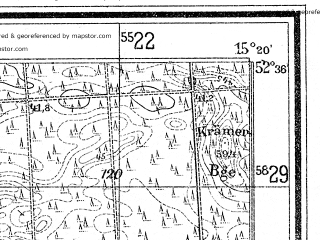 Reduced fragment of topographic map de--mb--025k--34_057--(1934)--N052-36_E015-10--N052-30_E015-20