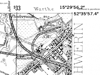 Reduced fragment of topographic map de--mb--025k--34_058-ams--(1952)--N052-36_E015-20--N052-30_E015-30; towns and cities Skwierzyna