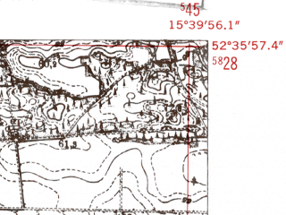 Reduced fragment of topographic map de--mb--025k--34_059-ams--(1952)--N052-36_E015-30--N052-30_E015-40