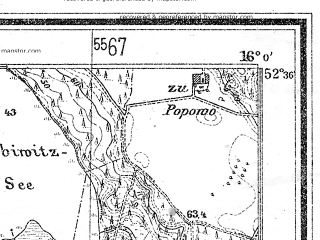 Reduced fragment of topographic map de--mb--025k--34_061--(1940)--N052-36_E015-50--N052-30_E016-00; towns and cities Miedzychod