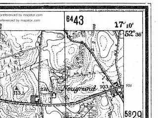 Reduced fragment of topographic map de--mb--025k--34_068--(1944)--N052-36_E017-00--N052-30_E017-10; towns and cities Murowana Goslina