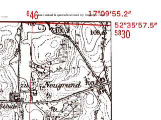 Reduced fragment of topographic map de--mb--025k--34_068-ams--(1952)--N052-36_E017-00--N052-30_E017-10; towns and cities Murowana Goslina