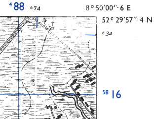 Reduced fragment of topographic map de--mb--025k--35_018-ams--(1955)--N052-30_E008-40--N052-24_E008-50