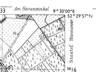 Reduced fragment of topographic map de--mb--025k--35_022-ams--(1955)--N052-30_E009-20--N052-24_E009-30; towns and cities Wunstorf