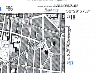 Reduced fragment of topographic map de--mb--025k--35_045-ams--(1952)--N052-30_E013-10--N052-24_E013-20; towns and cities Berlin
