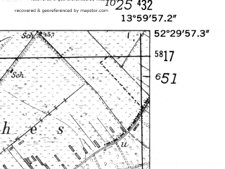 Reduced fragment of topographic map de--mb--025k--35_049-ams--(1952)--N052-30_E013-50--N052-24_E014-00