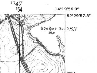 Reduced fragment of topographic map de--mb--025k--35_051-ams--(1952)--N052-30_E014-10--N052-24_E014-20