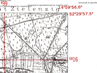 Reduced fragment of topographic map de--mb--025k--35_055-ams--(1952)--N052-30_E014-50--N052-24_E015-00