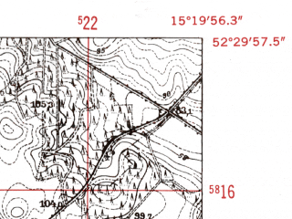 Reduced fragment of topographic map de--mb--025k--35_057-ams--(1952)--N052-30_E015-10--N052-24_E015-20