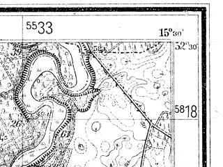 Reduced fragment of topographic map de--mb--025k--35_058--(1934)--N052-30_E015-20--N052-24_E015-30