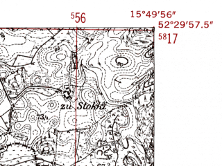Reduced fragment of topographic map de--mb--025k--35_060-ams--(1952)--N052-30_E015-40--N052-24_E015-50