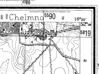 Reduced fragment of topographic map de--mb--025k--35_063--(1940)--N052-30_E016-10--N052-24_E016-20; towns and cities Lwowek