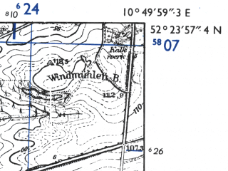 Reduced fragment of topographic map de--mb--025k--36_030-ams--(1955)--N052-24_E010-40--N052-18_E010-50