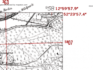 Reduced fragment of topographic map de--mb--025k--36_043-ams--(1952)--N052-24_E012-50--N052-18_E013-00 in area of Schwielowsee