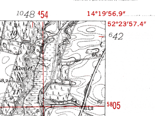 Reduced fragment of topographic map de--mb--025k--36_051-ams--(1952)--N052-24_E014-10--N052-18_E014-20