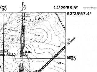 Reduced fragment of topographic map de--mb--025k--36_052-ams--(1952)--N052-24_E014-20--N052-18_E014-30