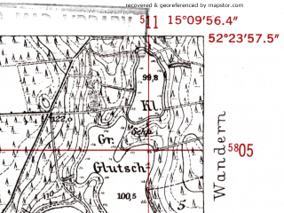 Reduced fragment of topographic map de--mb--025k--36_056-ams--(1952)--N052-24_E015-00--N052-18_E015-10