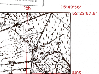 Reduced fragment of topographic map de--mb--025k--36_060-ams--(1952)--N052-24_E015-40--N052-18_E015-50