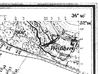 Reduced fragment of topographic map de--mb--025k--36_067--(1919)--N052-24_E016-50--N052-18_E017-00; towns and cities Lubon