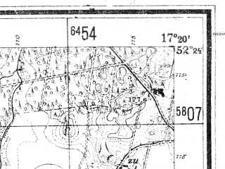 Reduced fragment of topographic map de--mb--025k--36_069--(1944)--N052-24_E017-10--N052-18_E017-20; towns and cities Kostrzyn