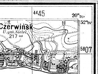 Reduced fragment of topographic map de--mb--025k--36_087--(1944)--N052-24_E020-10--N052-18_E020-20; towns and cities Wyszogrod
