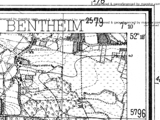 Reduced fragment of topographic map de--mb--025k--37_008--(1939)--N052-18_E007-00--N052-12_E007-10; towns and cities Gronau, Ochtrup Wettringen