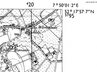 Reduced fragment of topographic map de--mb--025k--37_012-ams--(1955)--N052-18_E007-40--N052-12_E007-50; towns and cities Ibbenburen